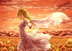 Rating: Safe Score: 53 Tags: blonde_hair blue_eyes christa_renz clouds dress flowers mamechiyo555 shingeki_no_kyojin short_hair sky sunset User: Flandre93