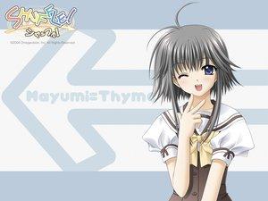 Rating: Safe Score: 9 Tags: black_hair blush bow mayumi_thyme nishimata_aoi seifuku shuffle wink User: Oyashiro-sama