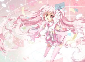 Rating: Safe Score: 62 Tags: ceru hatsune_miku pink sakura_miku thighhighs vocaloid User: FormX