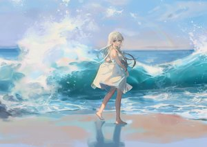 Rating: Safe Score: 79 Tags: aqua_eyes barefoot beach ciloranko clouds dress gray_hair long_hair original rainbow sky summer_dress water User: Nepcoheart