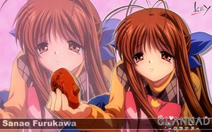 Rating: Safe Score: 12 Tags: apron brown_eyes brown_hair clannad food furukawa_sanae key logo long_hair zoom_layer User: Oyashiro-sama