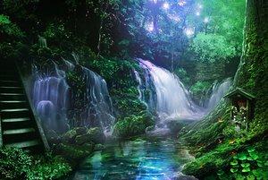 Rating: Safe Score: 74 Tags: monorisu nobody original scenic shrine stairs tree water waterfall User: RyuZU