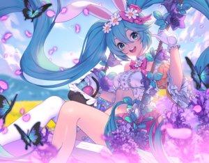 Rating: Safe Score: 70 Tags: animal_ears blue_eyes blue_hair bunny_ears butterfly flowers gloves hatsune_miku lim_jaejin long_hair navel petals twintails vocaloid User: RyuZU