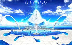 Rating: Safe Score: 85 Tags: akizuki_tsukasa brown_eyes clouds dress feathers haruka_kanata landscape long_hair mizushiro_haruka scenic sky sorahane water white_hair wings User: Wiresetc