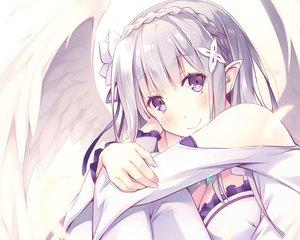 Rating: Safe Score: 68 Tags: blush breasts cleavage cropped emilia flowers long_hair pointed_ears purple_eyes re:zero_kara_hajimeru_isekai_seikatsu tagme_(artist) white_hair wings User: RyuZU
