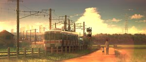Rating: Safe Score: 41 Tags: building clouds grass original scenic sky sunset tanaka_ryosuke train User: mattiasc02