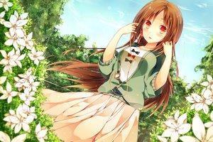 Rating: Safe Score: 188 Tags: blush brown_hair clouds dress flowers headphones komeshiro_kasu leaves long_hair original red_eyes skirt sky tree User: opai