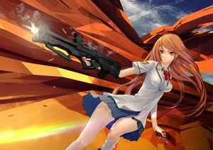 Rating: Safe Score: 145 Tags: gun long_hair orange_hair phone red_eyes redjuice seifuku weapon User: opai