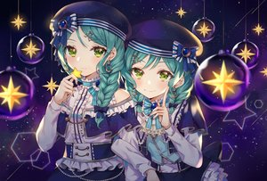 Rating: Safe Score: 44 Tags: 2girls bang_dream! bow braids churi_(oxxchurixxo) green_eyes green_hair hat hikawa_hina hikawa_sayo ponytail stars twins twintails User: BattlequeenYume