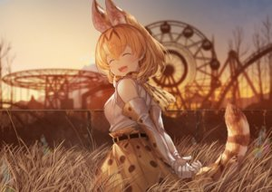 Rating: Safe Score: 40 Tags: animal_ears anthropomorphism blonde_hair blush catgirl elbow_gloves gloves grass kemono_friends koruse serval short_hair sunset tail User: RyuZU