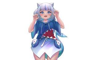 Rating: Safe Score: 9 Tags: animal_ears blue_eyes blush catgirl cat_smile deaver fang gawr_gura gray_hair hololive hoodie short_hair white User: otaku_emmy