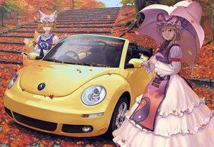 Rating: Safe Score: 91 Tags: animal_ears autumn car foxgirl geister multiple_tails realistic stairs tail touhou yakumo_ran yakumo_yukari User: anaraquelk2