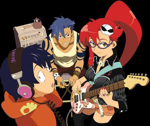 Rating: Safe Score: 13 Tags: boota guitar headphones instrument kamina simon tengen_toppa_gurren_lagann yoko_littner User: Oyashiro-sama