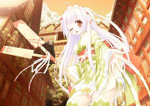 Rating: Safe Score: 86 Tags: japanese_clothes long_hair original shiro_dai_kitsune white_hair wink yukata User: gnarf1975