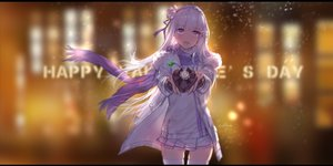 Rating: Safe Score: 32 Tags: emilia flowers gray_hair headdress long_hair purple_eyes re:zero_kara_hajimeru_isekai_seikatsu ribbons signed skirt swd3e2 thighhighs valentine User: RyuZU
