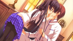 Rating: Questionable Score: 45 Tags: black_hair game_cg kiss kobuichi masamune_shizuru noble_works pantyhose seifuku skirt User: Wiresetc