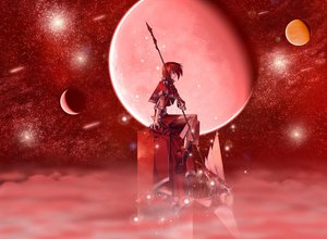 Rating: Safe Score: 33 Tags: boots lagoon_engine moon night planet red red_eyes red_hair scythe short_hair sky spear stars weapon User: Oyashiro-sama