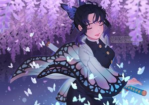 Rating: Safe Score: 33 Tags: flowers japanese_clothes katana kimetsu_no_yaiba kochou_shinobu saphirya sword watermark weapon User: sadodere-chan