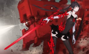 Rating: Safe Score: 40 Tags: black_hair ishinarimaru_shouten long_hair mecha original pixiv_fantasia red_eyes sword thighhighs twintails weapon User: RyuZU