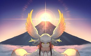 Rating: Safe Score: 30 Tags: anthropomorphism clouds crested_ibis_(kemono_friends) feathers happa_(cloverppd) hat kemono_friends short_hair sky sunset wings witch_hat yellow_eyes User: otaku_emmy