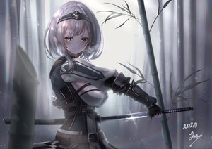 Rating: Safe Score: 52 Tags: braids garter garter_belt gloves gray_hair headband hololive joeillustrate katana shirogane_noel signed sword weapon User: BattlequeenYume