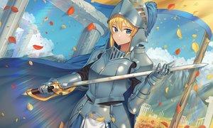 Rating: Safe Score: 22 Tags: aqua_eyes armor blonde_hair clouds goback original petals short_hair sky sword weapon User: Dreista