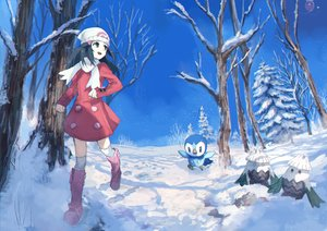 Rating: Safe Score: 50 Tags: animal bird black_eyes black_hair boots dress drifloon hat hikari_(pokemon) kneehighs long_hair piplup pippi_(pixiv_1922055) pokemon sky snover snow tree winter User: RyuZU