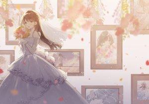 Rating: Safe Score: 75 Tags: blush brown_eyes brown_hair dress flowers gloves long_hair necojishi original petals wedding_attire User: RyuZU