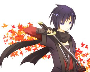 Rating: Safe Score: 56 Tags: bandage black_eyes black_hair japanese_clothes kaito katana scarf short_hair sword vocaloid weapon User: HawthorneKitty