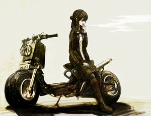 Rating: Safe Score: 130 Tags: black_eyes black_hair cigarette goggles long_hair motorcycle original smoking toi_(number8) User: 02