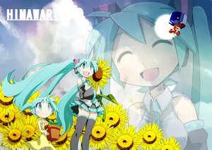 Rating: Safe Score: 27 Tags: aqua_hair hatsune_miku headphones long_hair sunflower thighhighs twintails vocaloid User: HawthorneKitty