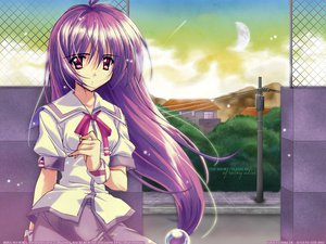 Rating: Safe Score: 4 Tags: clouds iriya_kana iriya_no_sora_ufo_no_natsu long_hair moon purple_hair red_eyes school_uniform watermark User: Oyashiro-sama