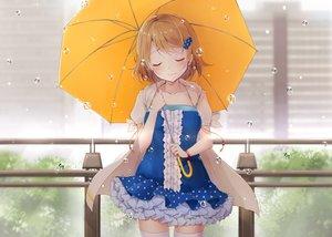 Rating: Safe Score: 114 Tags: blush brown_hair dress hazuki_natsu hoodie koizumi_hanayo love_live!_school_idol_project rain short_hair thighhighs umbrella water wristwear zettai_ryouiki User: Flandre93