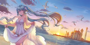 Rating: Safe Score: 46 Tags: animal aqua_hair bird breasts cleavage dress green_eyes hatsune_miku ice_(6597201) lighthouse long_hair see_through skirt_lift summer_dress sunset twintails vocaloid water windmill User: BattlequeenYume