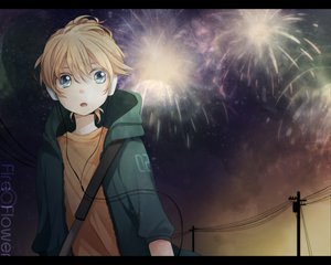 Rating: Safe Score: 29 Tags: all_male fireworks headphones hoodie kagamine_len male sunset tama_(songe) vocaloid User: HawthorneKitty