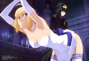 Rating: Questionable Score: 184 Tags: blonde_hair breasts cape caster cleavage dress fate/stay_night green_eyes megami saber scan shimabukuro_ricardo skirt skirt_lift stockings thighhighs User: Wiresetc