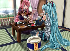 Rating: Safe Score: 38 Tags: blue_eyes blue_hair dress food grass hatsune_miku long_hair megurine_luka pink_hair skirt sky thighhighs twintails vocaloid User: Kumacuda