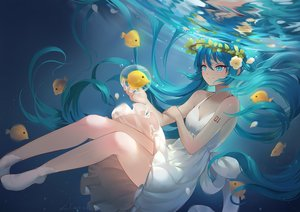 Rating: Safe Score: 51 Tags: animal aqua_eyes aqua_hair bubbles dress fish flowers hatsune_miku lian_yao long_hair petals signed summer_dress tears twintails underwater vocaloid water User: RyuZU