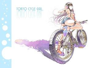 Rating: Questionable Score: 55 Tags: ass bicycle bikini_top black_hair blue_eyes breasts earmuffs garter long_hair original shorts underboob wadapen white User: RyuZU