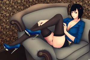 Rating: Questionable Score: 188 Tags: black_hair cleavage khalitzburg original panties short_hair skirt thighhighs underwear User: opai