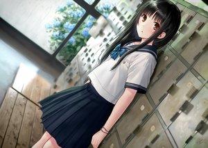 Rating: Safe Score: 155 Tags: black_hair bow brown_eyes kazuharu_kina long_hair original rain school_uniform skirt water wristwear User: BattlequeenYume
