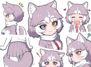 Rating: Safe Score: 43 Tags: anthropomorphism bicolored_eyes blush cat_smile elbow_gloves fang food gloves gray_hair heart kemono_friends mixed_breed_dog_(kemono_friends) pantyhose ransusan short_hair skirt tail white User: otaku_emmy