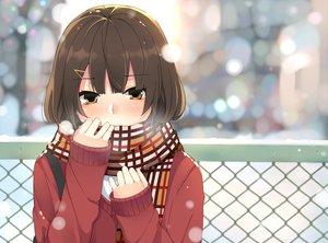Rating: Safe Score: 94 Tags: blush brown_eyes brown_hair close nuko_(mikupantu) original scarf snow User: opai
