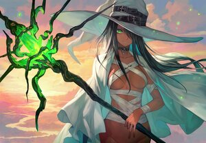 Rating: Questionable Score: 59 Tags: black_hair breasts cape clouds collar dark_skin green_eyes hat lack long_hair navel no_bra nopan original sky staff sunset witch witch_hat User: BattlequeenYume