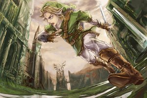 Rating: Safe Score: 93 Tags: all_male blonde_hair blue_eyes boots gloves link_(zelda) male pointed_ears ruins signed sword the_legend_of_zelda weapon zzyzzyy User: FormX