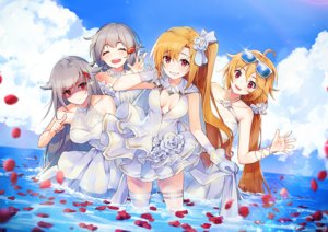 Rating: Safe Score: 61 Tags: anthropomorphism azur_lane blonde_hair breasts cleavage cleveland_(azur_lane) columbia_(azur_lane) denver_(azur_lane) dress glasses gray_hair group long_hair montpelier_(azur_lane) nagu ponytail red_eyes sky thighhighs water wedding_attire User: Nepcoheart