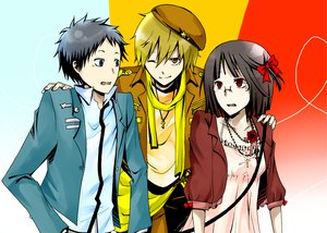 Rating: Safe Score: 19 Tags: black_hair blonde_hair blue_eyes brown_eyes dress durarara!! glasses group hat kida_masaomi red_eyes ryuugamine_mikado scarf short_hair sonohara_anri User: Tensa