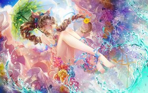 Rating: Safe Score: 138 Tags: aeris_gainsborough barefoot blush brown_hair butterfly cat_princess dress final_fantasy final_fantasy_vii flowers headdress leaves long_hair ponytail ribbons umbrella water User: otaku_emmy