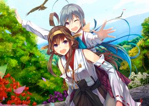 Rating: Safe Score: 35 Tags: 2girls animal bird flowers kantai_collection kiyoshimo_(kancolle) kongou_(kancolle) konkito landscape petals scenic tree water User: mattiasc02