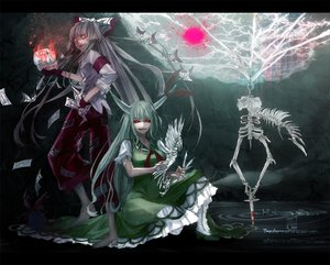 Rating: Safe Score: 79 Tags: 2girls bones ex_keine fire fujiwara_no_mokou gloves gray_hair green_hair horns kamishirasawa_keine knife lastdark long_hair ofuda red_eyes skull touhou weapon wings User: w7382001